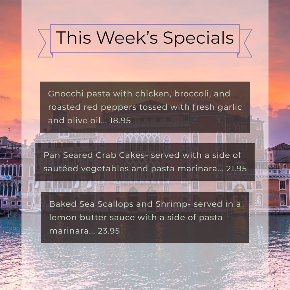 Our Weekly Specials For Thursday, July 18th Thru Sunday, July 21st